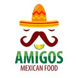 Mexican food restaurant sombrero mustaches vector icon template Royalty Free Stock Photography