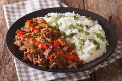 Mexican food ropa vieja: beef stew in tomato sauce with vegetabl Royalty Free Stock Photography