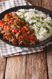 Mexican food ropa vieja: beef stew in tomato sauce with vegetables Stock Photos