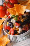 Mexican Food: salsa in a bowl and corn chips nachos macro. verti Stock Photos