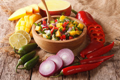 Mexican Food: salsa with mango, cilantro, onions and peppers closeup and ingredients. horizontal. Mexican Food: salsa with mango, cilantro, onions and peppers stock photos