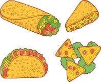 Mexican food set. Graphic doodle cartoon art. Vector illustratio royalty free illustration