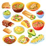 Mexican Food Set. Traditional mexican food dishes collection with tacos quesadilla tortilla chips avocado salsa isolated white background vector illustration stock illustration