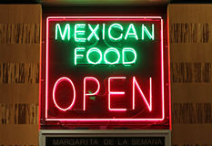 Mexican food sign. Neon Mexican food,  open sign in green and red colors Royalty Free Stock Image