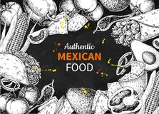 Mexican food sketch label in frame. Vector Traditional cuisines. Drawing burito, taco, nachos, chili pepper, vegetables. Blackboard template for mexican royalty free illustration