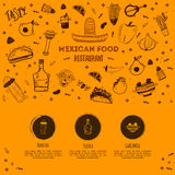Mexican food sketch menu template. Vector vintageillustration for , poster on white background. with place text Royalty Free Stock Photos