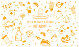 Mexican food sketch menu template. Vector vintageillustration for , poster on white background. with place  text Stock Images