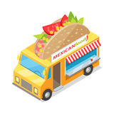 Mexican Food Street Eatery in Isometric Projection Stock Image