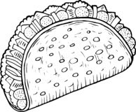 Mexican food taco - coloring page for adults. Ink artwork. Graphic doodle cartoon art. Vector illustration stock illustration