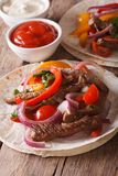 Mexican food: tacos with meat and vegetables close-up Stock Image