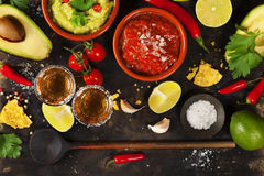 Mexican food and tequila shots Stock Photography