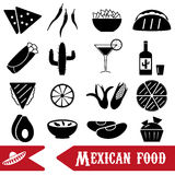 Mexican food theme set of simple icons Royalty Free Stock Images