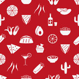 Mexican food theme set of simple icons red seamless pattern eps10 Royalty Free Stock Image