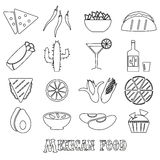 Mexican food theme set of simple outline icons Royalty Free Stock Photos