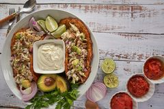 Mexican food, tortillas, cheese cream, chicken, red onions and limes. royalty free stock photography
