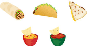 Mexican Food. Various Mexican foods including burrito, crunchy taco, quesadilla, cheese dip, and salsa Royalty Free Stock Images