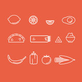 Mexican food. Various traditional and colorful Mexican food on a red background Stock Photography