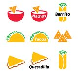 Mexican food vector icon set - tacos, nachos, burrito, quesadilla Stock Photography
