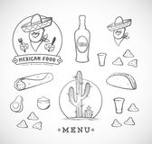 Mexican Food Vector Illustrations Set with Logo Template for Restaurant Menu, Cafe, Meal Delivery. Smiling Man in Stock Images