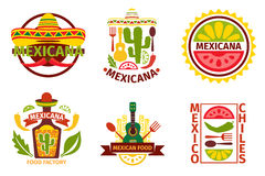 Mexican food vector logo, labels, emblems  Royalty Free Stock Images