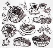 Mexican food vector set. Royalty Free Stock Photos