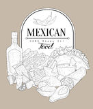 Mexican Food Vintage Sketch Royalty Free Stock Images
