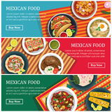 Mexican food web banner flat design Stock Image