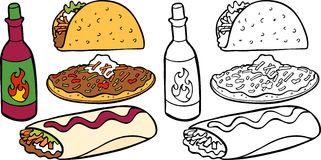 Mexican Foods. Cartoon image of a variety of different types of Mexican food items - both color and black / white versions royalty free illustration