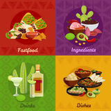 Mexican Foof 4 Flat Icons Banner Stock Photography
