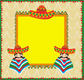 Mexican frame with man in sombrero. Illustration Stock Image