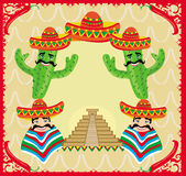 Mexican frame with pyramid, cactus and sombrero Stock Photo
