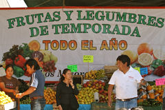Mexican Fruit Market in San Miguel de Allende. People buying and selling at the big weekly mexican fruit market (called tanguis Royalty Free Stock Photography