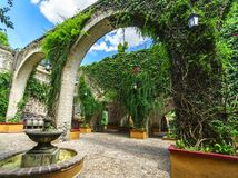 Mexican garden and colonial stone arc. In San Gabriel Barrera Guanajuato royalty free stock images