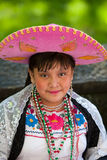 Mexican girl. With sombrero - The Cinco de Mayo Parade in New York City.Photo taken  on May 8, 2011 Royalty Free Stock Photo