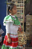 Mexican girl with birds. Cute mexican girl with birds in cages Stock Images
