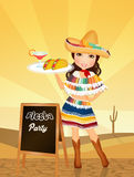 Mexican girl for fiesta. Illustration of Mexican girl for fiesta Royalty Free Stock Photo