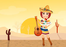Mexican girl with guitar Stock Image