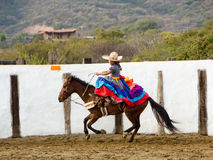Mexican girl on horseback Stock Images