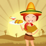 Mexican girl. Illustration of Mexican girl with tacos Royalty Free Stock Photos