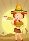 Mexican girl. Illustration of Mexican girl with tacos Stock Photos