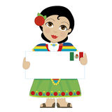 Mexican Girl Sign. A little girl is dressed in a traditional Mexican costume and holding a sign that looks like a big letter with the Mexican flag in the upper Royalty Free Stock Image