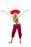 Mexican girl with sombrero dancing on white Stock Photography