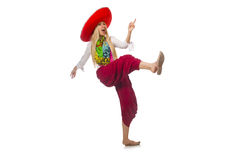 Mexican girl with sombrero dancing on white Stock Images