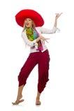 Mexican girl with sombrero dancing on white Stock Photos