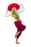 Mexican girl with sombrero dancing on white Royalty Free Stock Photo