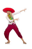 Mexican girl with sombrero dancing on white Royalty Free Stock Image