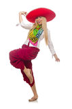 Mexican girl with sombrero dancing on white Stock Image