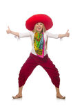 Mexican girl with sombrero dancing on white Royalty Free Stock Photos
