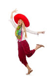 The mexican girl with sombrero dancing on white Royalty Free Stock Photography