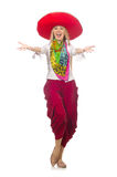 The mexican girl with sombrero dancing on white Royalty Free Stock Image